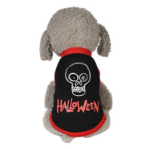 YiiJee Haustier Kostüm Niedlich Pet Hund Kleidung Halloween Drucken Hündchen Weste T-Shirt Schwarz XL