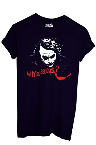 T-SHIRT DARK KNIGHT BATMAN JOKER WHY SO SERIOUS-FILM by MUSH Dress Your Style NERO