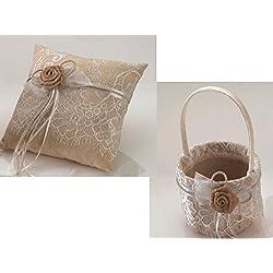 Juego de cojín de alianzas y cesta arras o pétalos con encaje y flor rústica
