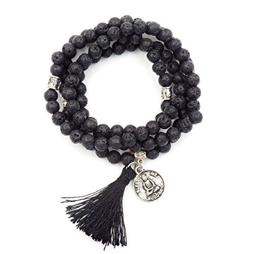 mala perlen Armband, buddhistische gebetsperlen, Lappen Armband, Buddha weniger Mich erklärung Halskette (Lava)