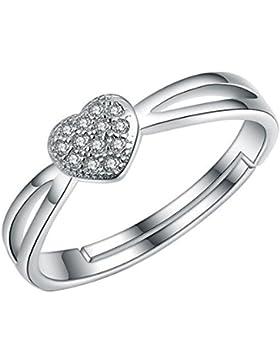 B.Z La Vie Ring für Damen Silber Herz Zirkon Größe:52 (16.6) Einstellbar Mädchen Geschenk