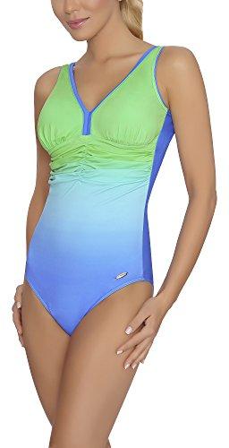 aQuarilla Damen Badeanzug Belize (Blau/Grün, 48)