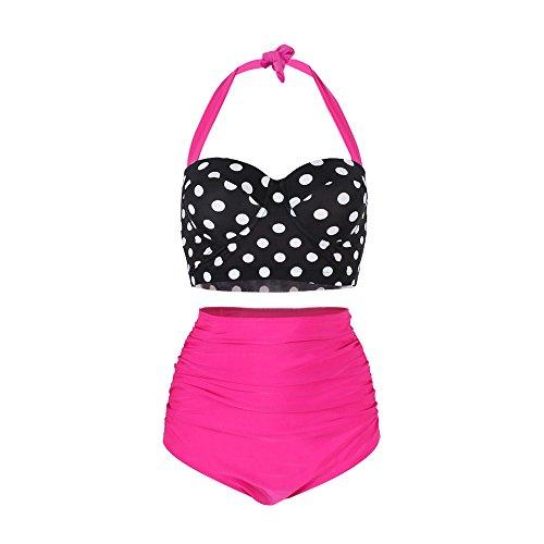 FeelinGirl 50er Damen Frauen Badeanzug Bademode Rockabilly Bikini Set-Hohe Taillen-Neckholder-bauchweg (Braunes Neckholder-badeanzug)
