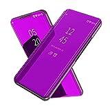 XINKO Samsung Galaxy A70 Hülle - [Ultra Slim][Plating Spiegel][Flip Hülle] Halterungsdeckel Rutschfest Anti-Fall Stoßstange Etui für Samsung Galaxy A70 - Lila