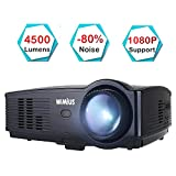 Beamer, WiMiUS Upgrade 1080P HD 4500 Lumen 200' LCD Beamer, Kompatibel...