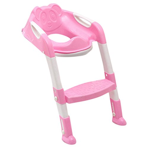 Generic Fold Potty Toilet Train Chair Seat Ladder Child Kid with Non-Slip Step Multicolor - pink, 35x30x17cm