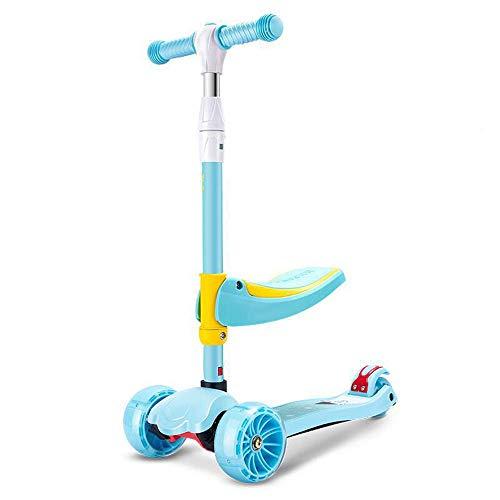 LJJYN 2-in-1-Roller Abnehmbarer Sitz PU-Blitzrad 3 höhenverstellbar Bester Kinderroller,Green,61 * 29 * 68cm