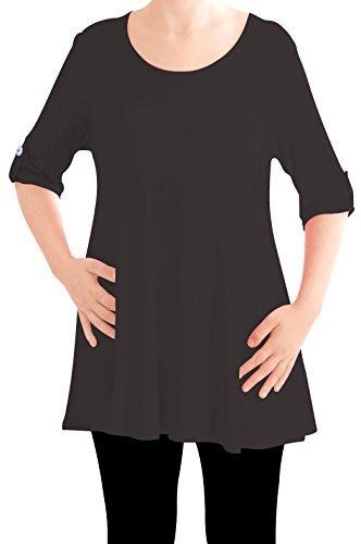 Eyecatch TM Oversize - Haut Tunique manches longues 3/4 large col rond grandes tailles- Jessica - Femme Noir