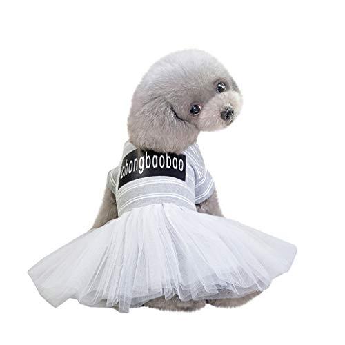 Einfach Kostüm Mops - Hawkimin Hunde Kleidung mops Mode Einfache Pet Kostüme Frühling und Sommer Brief drucken Streifen Spitze Breathable New Striped Rock