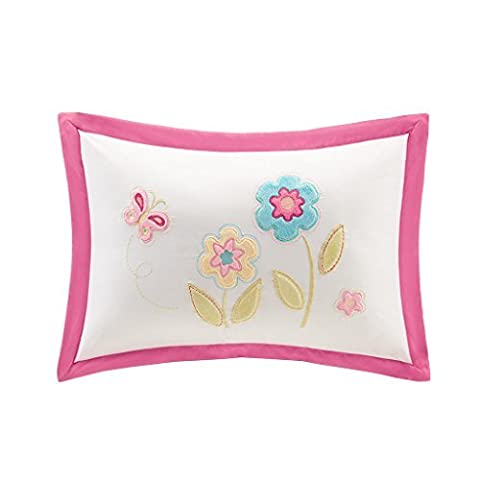 Mizone MZK30-078 Kids Spring Bloom Plush Floral Applique and Embroidered Oblong Pillow, 14 x 20, Pink Multi by Mi-Zone