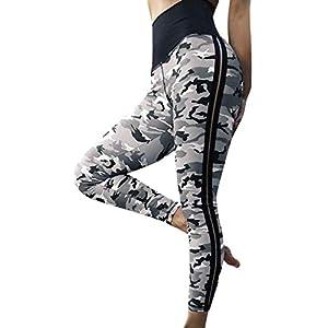 Hxuli Indische Kleider Damenfitness Sport Leggings Damen Falten Camouflage Gestreift Patchwork Yogahose Sporthose Fitnesshose Slim Fit Elastische Enge Hosen Sweathose Strumpfhosegraul