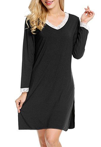 ADOME Damen Nachthemd Negligee Kleid Sleepshirt Casual Nachtkleid Nachtwäsche Schwarz M