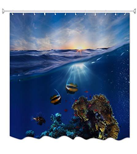 A.Monamour Blau Ozean Meer Marine Leben Koralle Fisch Blau Himmel Hell Sonnenschein Landschaft Bild Drucken Textil Lang Verdicken Dusche Vorhang 180X200 Cm / 72