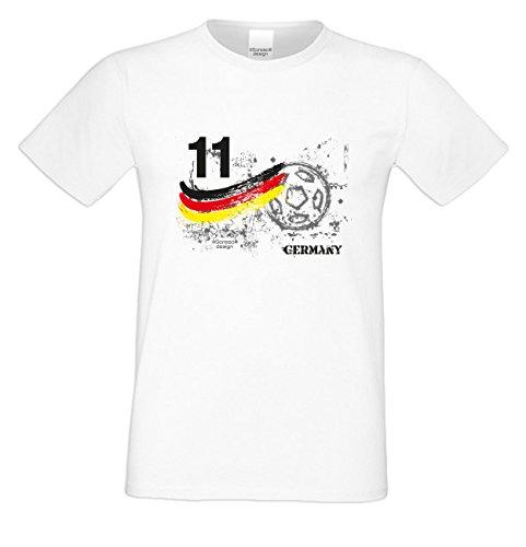 Fußball-Trikot T-Shirt :-: als Geburtstags-Vatertags-Weihnachts-Geschenk für Männer Fußballfans :-: mit Spieler-Nummer & Ball Motiv :-: Farbe: weiss weiß-14