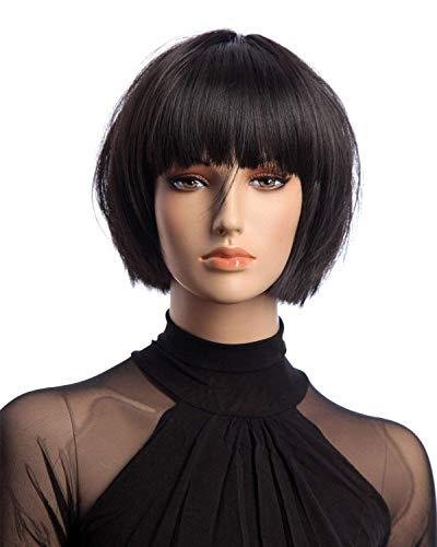 Tsnomore kurze gerade trendige Dapper Mode Frauen Perücke (Schwarz)