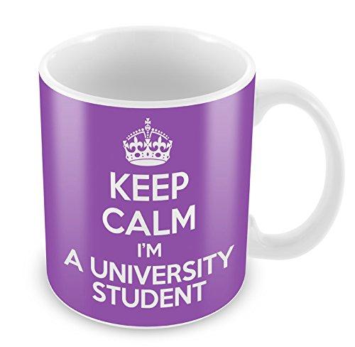 Violett Keep Calm I 'm a Universität Student Becher Kaffee Tasse Geschenkidee Present…