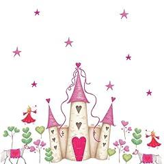 Idea Regalo - RoomMates - Adesivi da parete riposizionabili, per la cameretta delle bambine, con motivo a castello da principessa