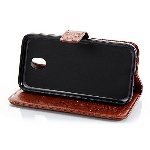 EKINHUI Case Cover Solid Color Faux Leder Bookstyle Brieftasche Stand Case mit geprägten Flower & Lanyard & Card Slots für Samsung Galaxy J3 2017 European Edition ( Color : Rose ) Brown