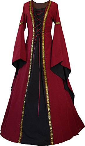 Dornbluth Damen Mittelalter Kleid Anna (36/38 kurz, Bordeaux-Schwarz)