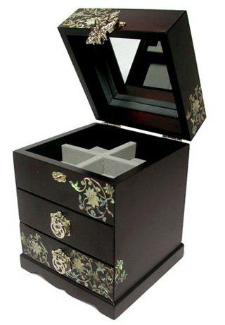 Boîte à bijoux en bois faite à la main avec miroir, nacre, Bosangwha cadeau