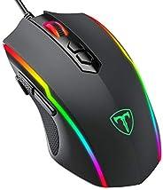 PICTEK Mouse Gaming, Mouse RGB 8 Pulsanti Proggrammabili 7200 DPI Pulsante di Fuoco Disegno Ergonomico, Nero (