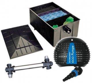 Teichfilteranlage XL Teichfilter 220 L + Teichpumpe 4500 + UVC 75 Watt Edelstahl Teichfilter