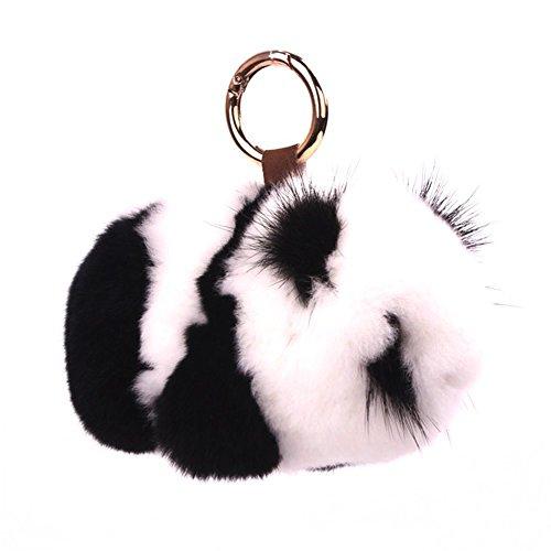 Schrank-kette (13CM Flaumig Hase Schlüsselanhänger Niedlich Natur Pelz Hase Puppe Schlüsselbund Dekor zum Damen Handtasche Auto Anhänger Geschenk 80Store (Panda))