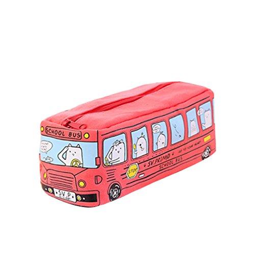 Zerama Tiere Schulbus-Form-Segeltuch-Bleistift-Kasten-Briefpapier-Speicher-Organisator-Beutel-Reißverschluss-Feder-Beutel (Cartoon-bleistift-kasten)