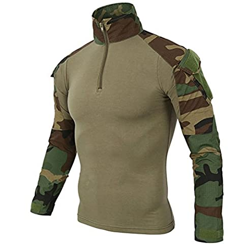 FY Taktisches Hemd Männer Militär Airsoft BDU Hemd Kampf Taktisches Langarm Jagdhemd Multicam,S