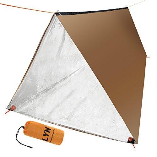 LYN Notfall Survival Tube Zelt Mylar Thermo-Schlafsack mit Paracord 550(Military Grade) für Camping 2Personen Bronze Notfall Decke