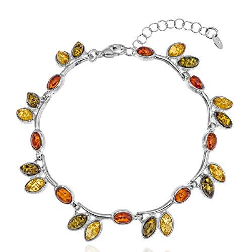 Copal Damen Bernstein Armband Echt Silber Natur Bunt Multicolor Längen-verstellbar Geschenkverpackung Valentinstag Geschenk für