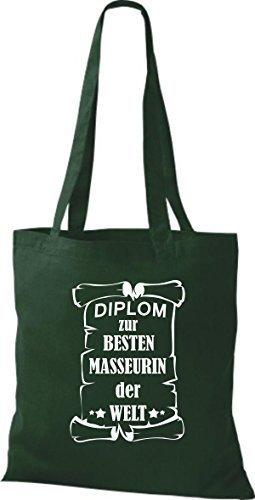 shirtstown Borsa di stoffa DIPLOM A MIGLIOR masseurin DEL MONDO Verde