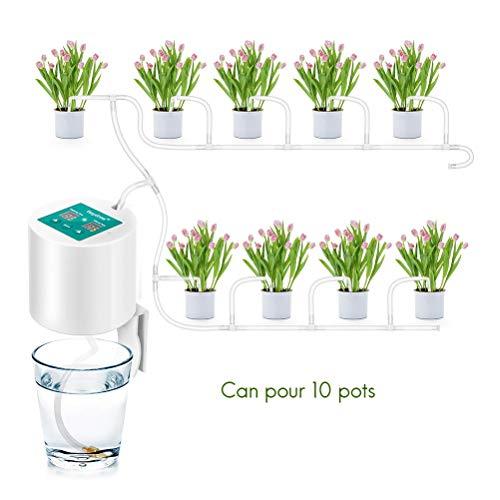AimdonR Automatisches Bewässerungsset, Selbstbewässerungssystem, mit elektronischer Wasseruhr, 10-m-Röhre, automatisches Tropfbewässerungssystem für Gärten, Balkone, Blumenampeln, Topfpflanzen -