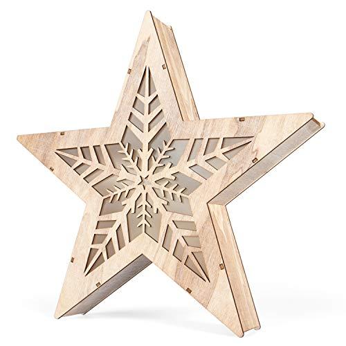 SnowEra LED Dekoleuchte in warmweiß | Holzstern mit 10 LEDs | Weihnachtsbeleuchtung für innen | Stern ohne Rahmen große Schneeflocke | Weihnachtsdeko aus Holz FSC 100%