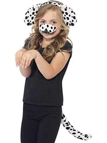 Luxuspiraten - Kostüm Accessoires Zubehör Kinder Dalmatiner Set aus Ohren Nase und Schwanz, Dalmatian Kit with Ears Nose and Tail, perfekt für Karneval, Fasching und Fastnacht, Weiß