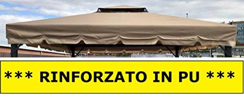Eurolandia® telo talpa in pu per copertura gazebo 3x3 450 gr ricambio camino antivento antipioggia 3 x 3
