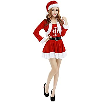 c1cc20131b4 LAEMILIA Robe Mini de Soirée Femme Noël Mère Déguisement Costume Manteau  avec Bonnet et Cape Velours