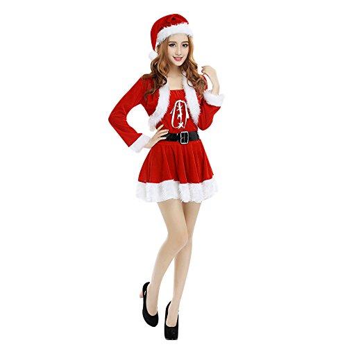 LAEMILIA Damen Kostüm Weihnachten Weihnachtsfrau Minikleid Weihnachtskleid Weihnachtsmann Miss Santa (Rot 3)