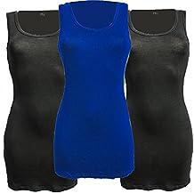 Jygles 3er Pack Damen Oberteile Basic Tank Top Long Baumwolle Tailliertes Träger Shirt