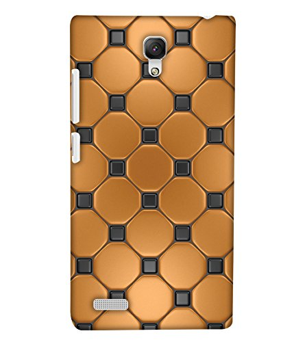 PrintHaat Designer Back Case Cover for Xiaomi Redmi Note :: Xiaomi Redmi Note 4G :: Xiaomi Redmi Note Prime :: Xiaomi Redmi HM Note 1LTE (golden and black texture :: decorative design :: golden circle surrounded by black dots)