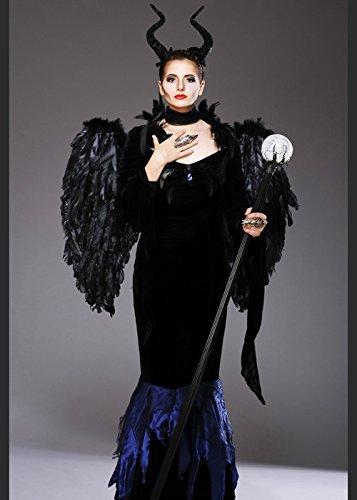 Womens Maleficent Style Böse Königin Kostüm mit Flügeln Large (UK ()