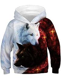 Jungen Mädchen Kapuzenpullover 3D Druck Muster Hoodie Herbst Winter Bunt  Langarm Cartoon Sweatshirt Pullover 4- a9f954786d
