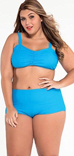 CHENGYANG Damen Hohe Taille Bandeau Groß Größe Bikini Badeanzug Badebekleidung Zwei Stücke Blau