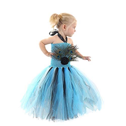Pfau Teen Kostüm - DONGBALA Pfau Kostüm, Halloween Mädchen Kleid Cosplay Kostüm Kostüm Outfit Schulkarneval Für Mädchen 3~8 Jahre Alt Mit Pfauenhaarspange Blau,120cm