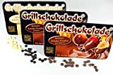 Grillschokolade 10er MIX Pack 250g, 4 x Vollmilch, 4 x dunkel und 2 x weiss BBQ Schoko-Fondue