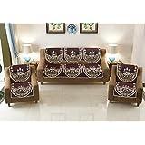 FACTCORE Tree Design Cotton 6 Pieces 5 Seater Sofa Cover Set (Brown)
