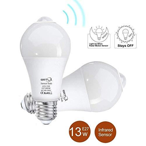 BRTLX Bombillas LED E27 Con Sensor Movimiento 13 W