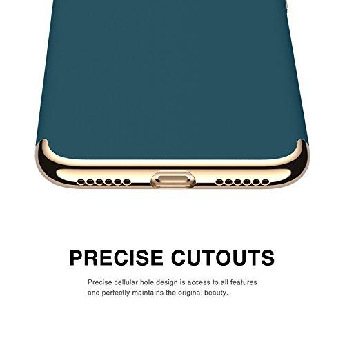 iPhone 7 Hülle, RANVOO 3-Teilige Styliche Hochwertige Extra Dünne Harte Schutzhülle Schale Cover Case Hardcase für iPhone 7, Silber [Apple Logo Sichtbar] Dunkelgrün