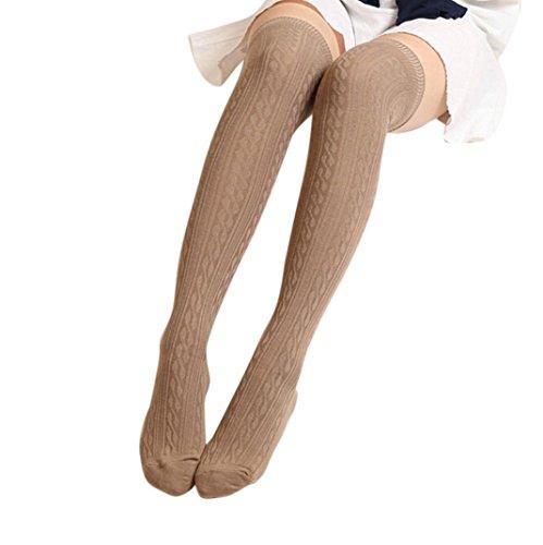 Lange Overknee Strümpfe FORH Damen Gestrickt über Knie lange Stiefel Oberschenkel warme Socken Leggings Thigh High College Knie Socken Stricken Sport Socken Stocking Pantyhose (Khaki) (Knie-länge Strumpfhosen)