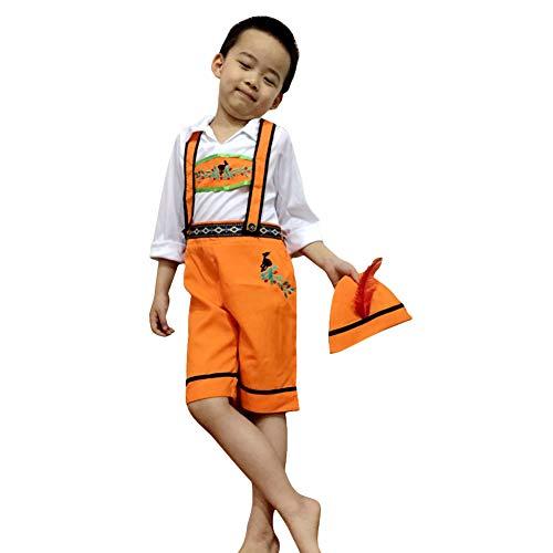 Kellner Kostüm Mädchen - BEESCLOVER Kinder Mädchen Junge Oktoberfest Kellner Kellnerin Kostüm Bier Festival Anzug Orange Junge XL
